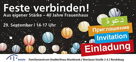 Einladung Fest Interkulturelle Woche Stadtteilhaus Mastbrook Frauenhaus Rendsburg