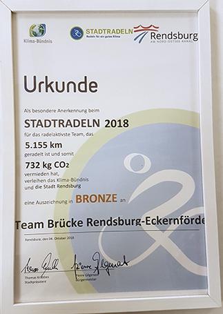 Brücke Rendsburg-Eckernförde Stadtradeln Urkunde Bronze